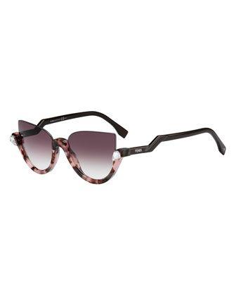 cfea874d7dbd Half-Rim Crystal Cat-Eye Sunglasses by Fendi at Bergdorf Goodman ...