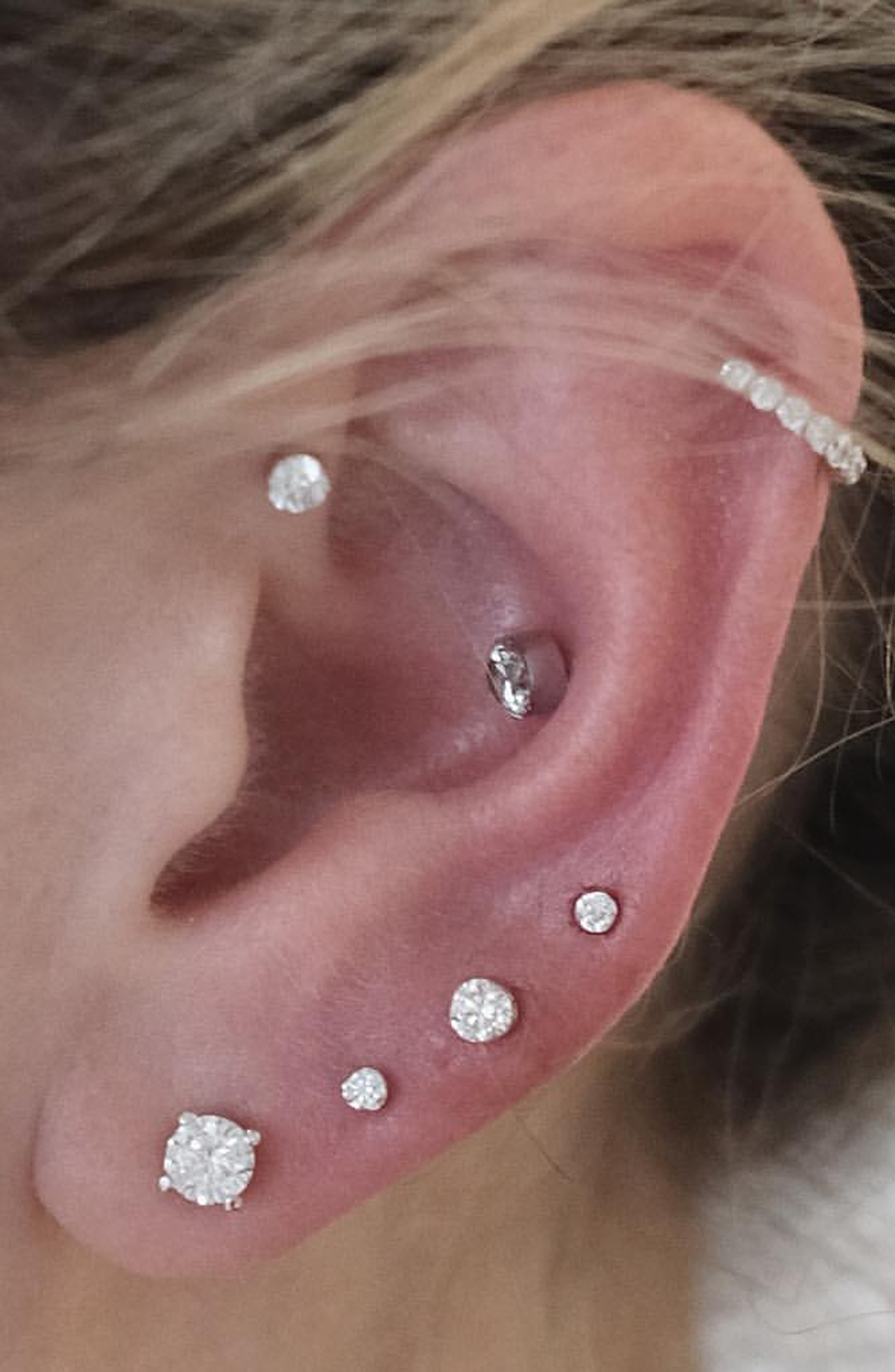 2nd ear piercing ideas  Alva Swarovski Crystal G Silver Barbell  Conch earring Multiple
