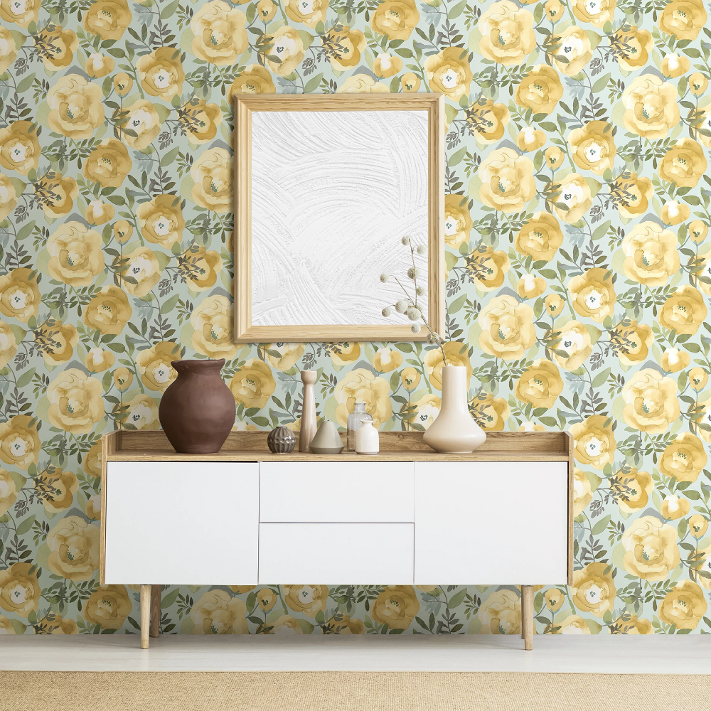 Orla Floral Yellow Floral wallpaper, Wallpaper roll
