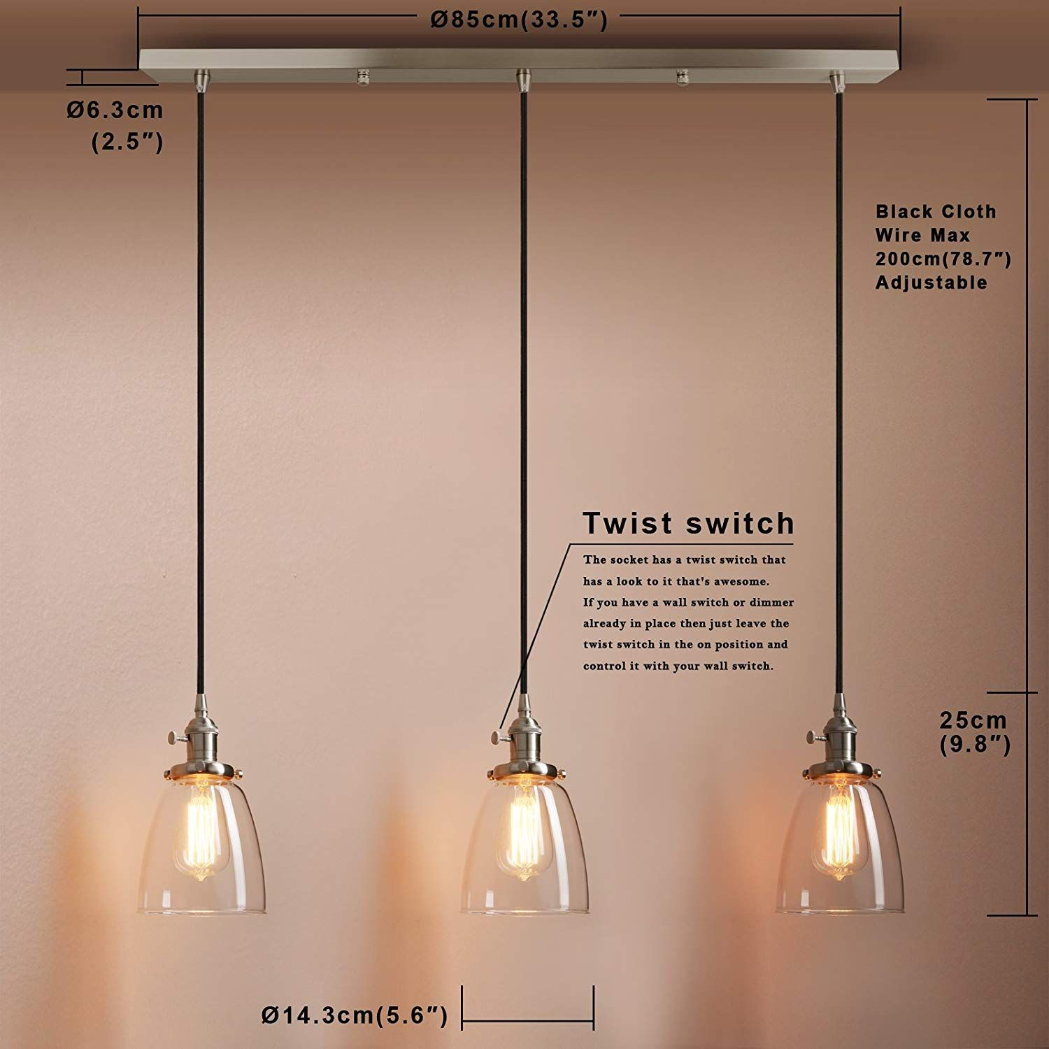 Pathson Industrial 3 Light Pendant Lighting Kitchen Island Hanging Lamps With Oval Clear Glass Shade Chandelier Ceiling Light Fixture Brushed Steel Hanging Ceiling Lamps Glass Light Shades Glass Shade Pendant Light
