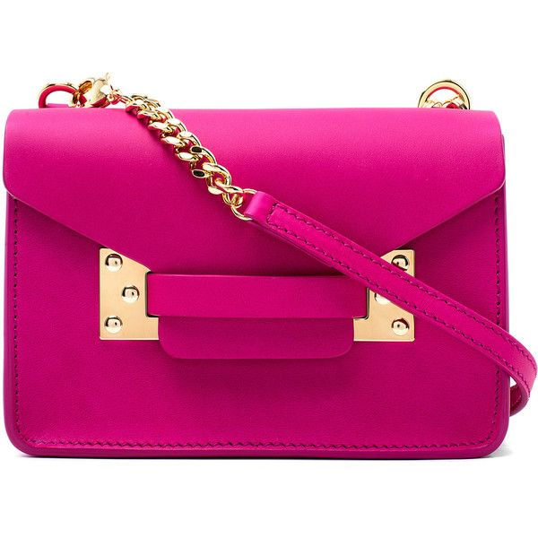 Sophie Hulme Pink Nano Leather Envelope Bag ($345) ❤ liked on Polyvore featuring bags, handbags, shoulder bags, crossbody, leather shoulder bag, pink crossbody, leather handbags and shoulder strap bag