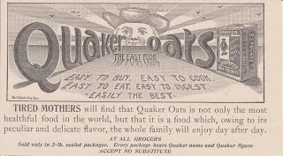 Free Vintage Clipart, Vintage Magazine Ads and Vintage Artwork Perfect for Home & Man-Cave Decor: Vintage 1892 Quaker Rolled White Oats Original Print Ad - Healthy Breakfast Food