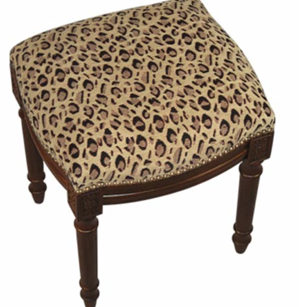 Leopard Fabric Upholstered Stool