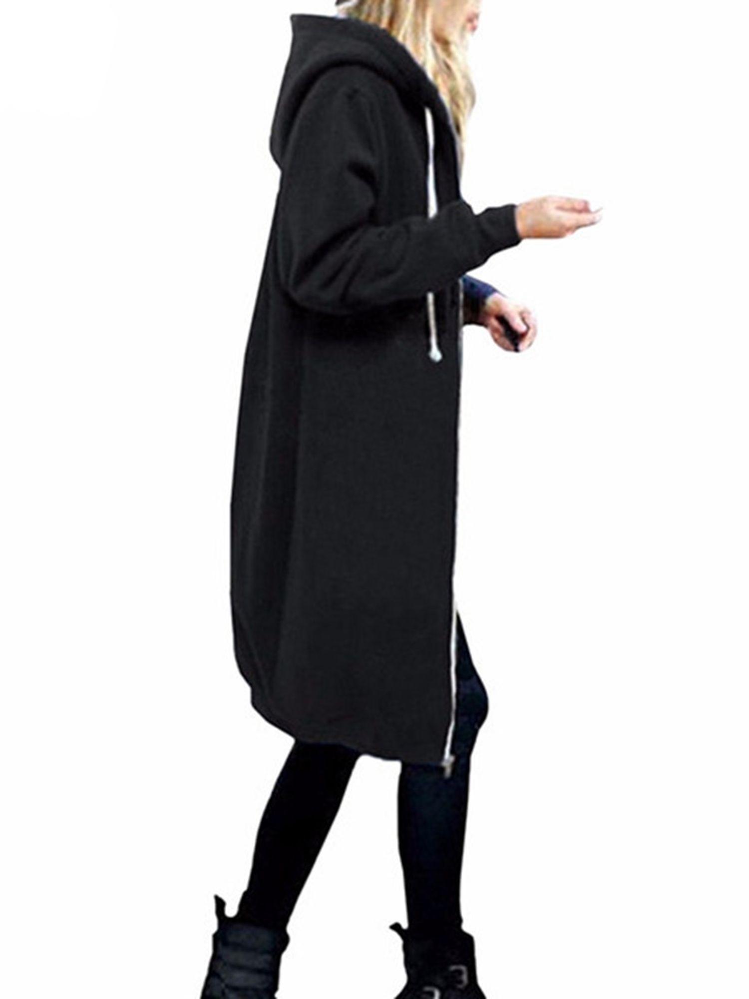 Womens Winter Hooded Zip Up Long Cardigan Casual Coat Jacket Outwear Plus Size