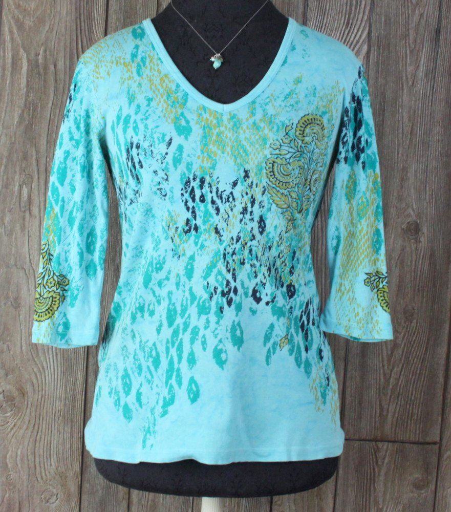 Glima Top M size USA Made Blue Floral Vneck Womens Cotton Casual Weekend Shirt