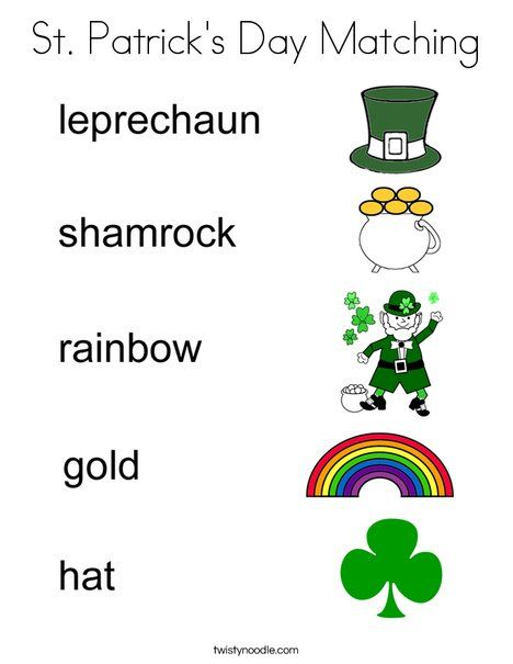 St Patrick's Day Matching Coloring Page - Twisty Noodle ...