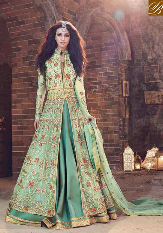 70f829f04fd STYLISH BAZAAR DELIGHTFUL GREEN NET ZOYA DESIGNER SUIT HAVING DUAL BOTTOM  WITH SLIT FROM THE MIDDLE PFEM18006