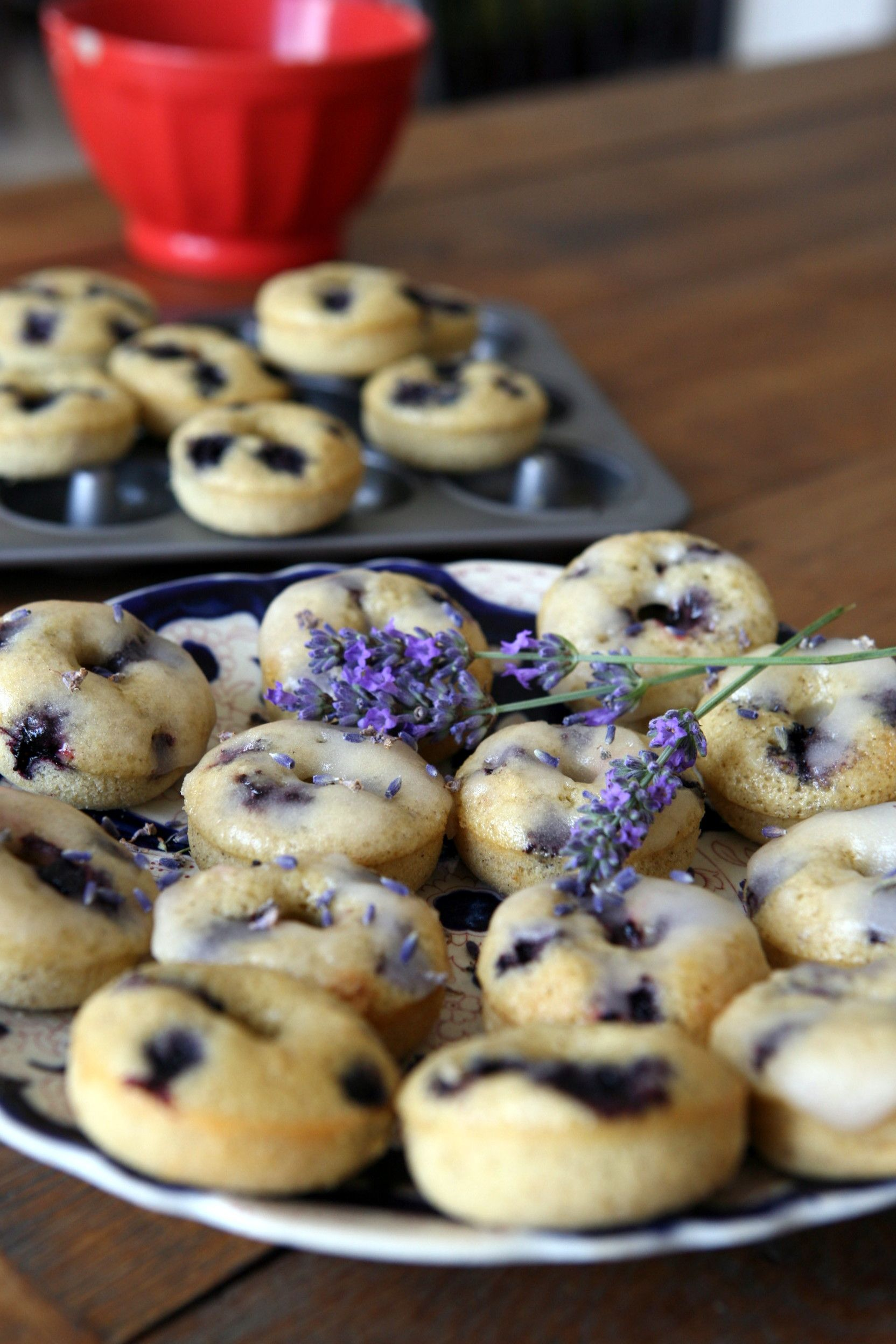 Mini blueberry donuts with lemon glaze and lavender RECIPE. Great snack for kids.