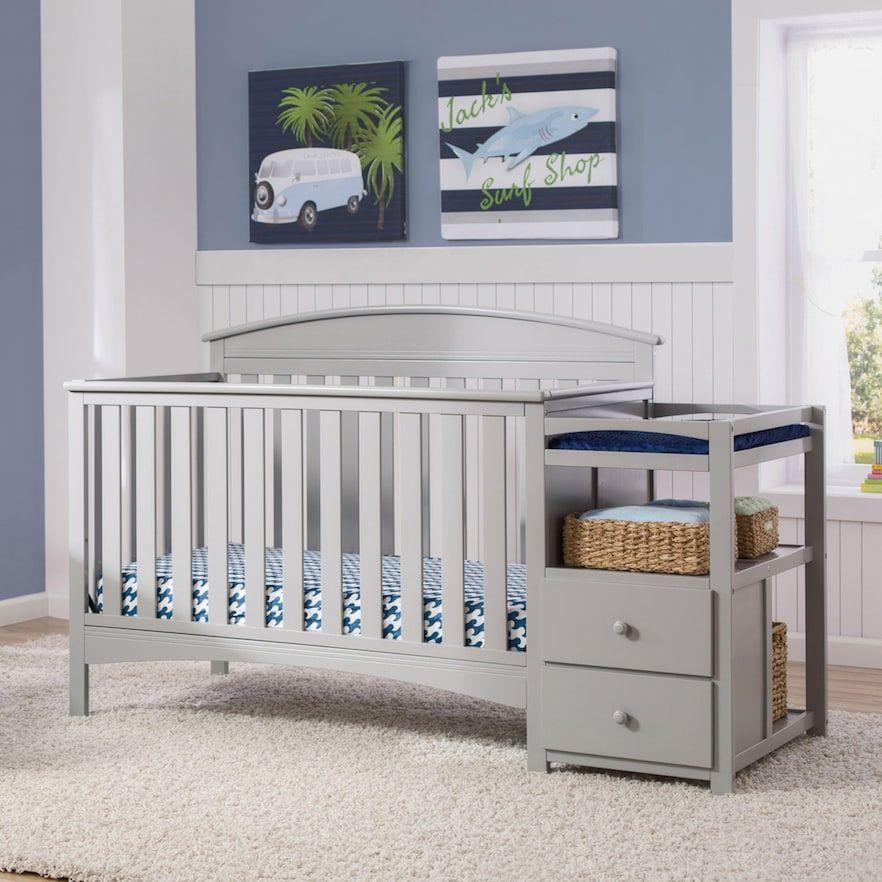 Delta Children Abby Convertible Crib N Changer Kohls Convertible Crib Cribs Baby Changing Tables