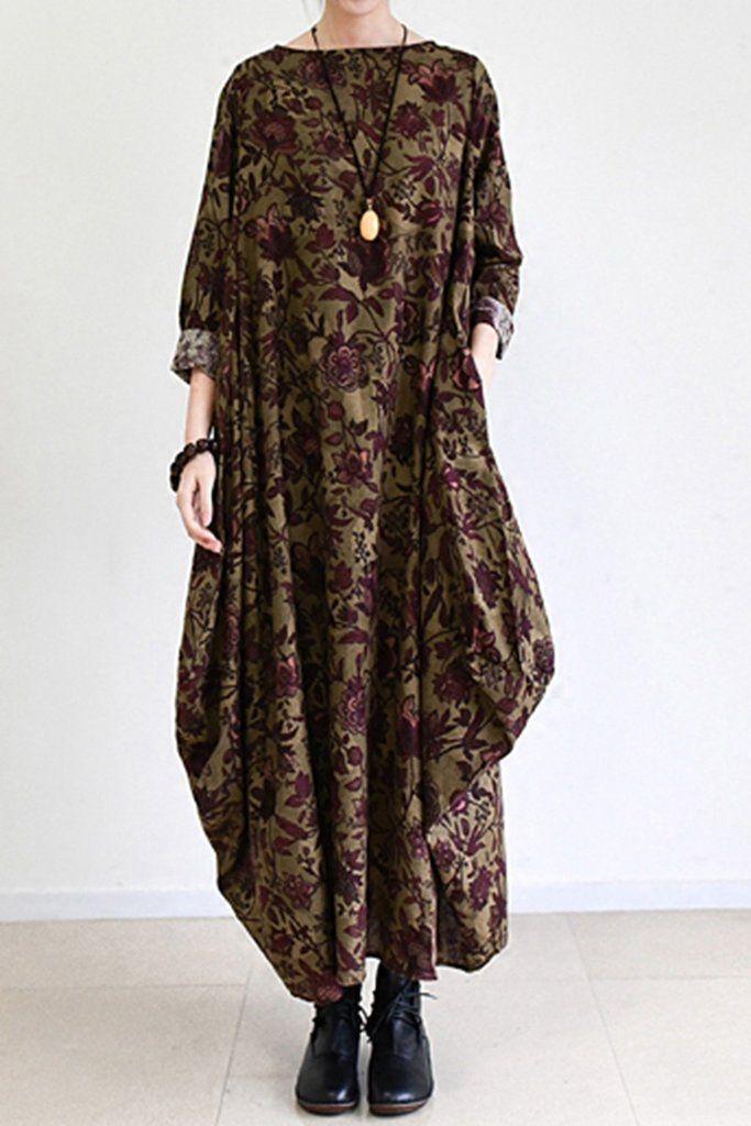 2017 Fall Brown Baggy Long Sleeve Linen Dresses Cotton Maxi Dresses  Oversize Women Clothing Q0307 be0fb835bb9f