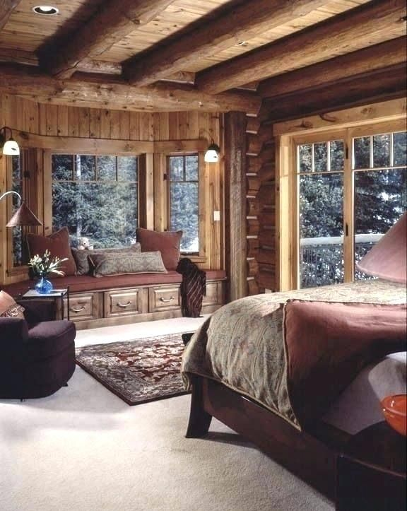Cabin Themed Decor Cabin Themed Bedroom Cabin Inspired Bedroom Warm And Cozy Cabin Bedroom Love This Cabin Log Home Bedroom Cozy Cabin Bedrooms Cabin Interiors