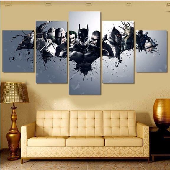 Movie Batman & Villain 5 pcs Painting Canvas Wall Art Oil Poster ...