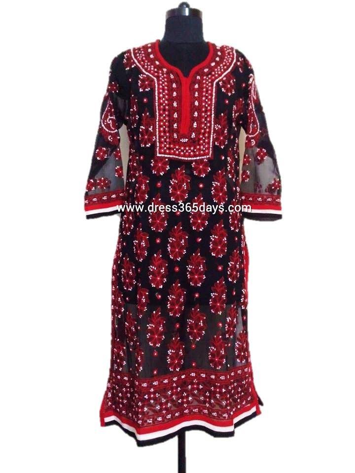 Red Chikan Kurtis #chikankari   Georgette Kurtis   Pinterest   Kurtis White Embroidery And Kurti