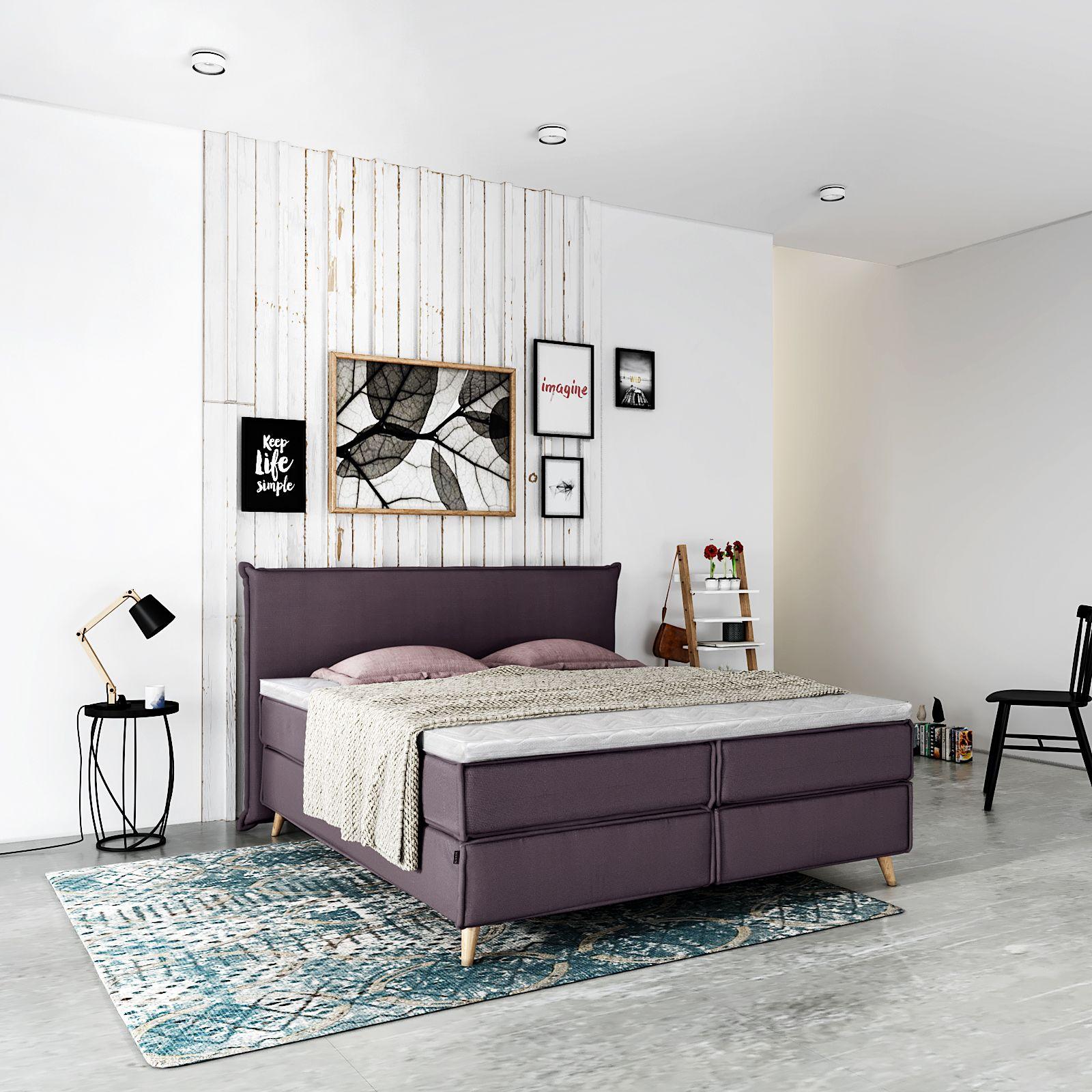 Boxspring Bed Insideout Free 180x200cm H2 Fabric Aubergine Oak Boxspringbett Zimmergestaltung Bett