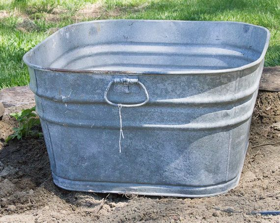 Vintage Square Wash Tub Large Wash Pot Galvanized Steel Large Garden Planter Rustic Garden Decor Farmh Large Garden Planters Rustic Garden Decor Wash Tubs