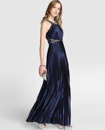 db5076de33d80 60 € ECI Vestido plisado de mujer Fórmula Joven en azul marino ...
