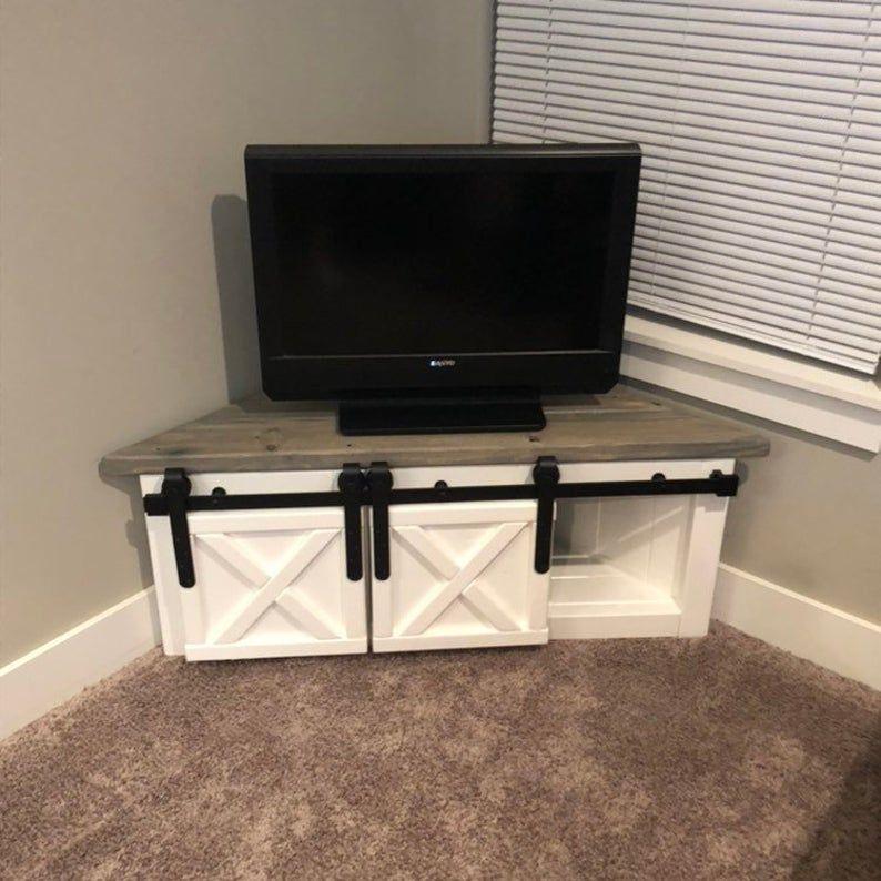 Sliding Barn Door Corner Tv Stand Farmhouse Entertainment Center Rustic Barn Door Cabinet Smaller Corner Tv Stand In 2020 Corner Tv Stand Corner Tv Small Corner Tv Stand
