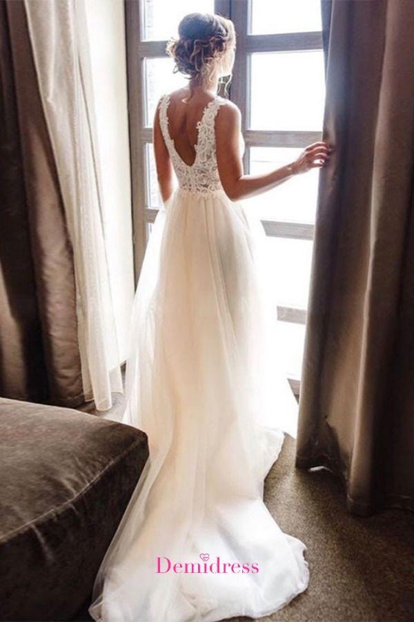 A-line Beach Wedding Dress Boho Bride Dress Plus S