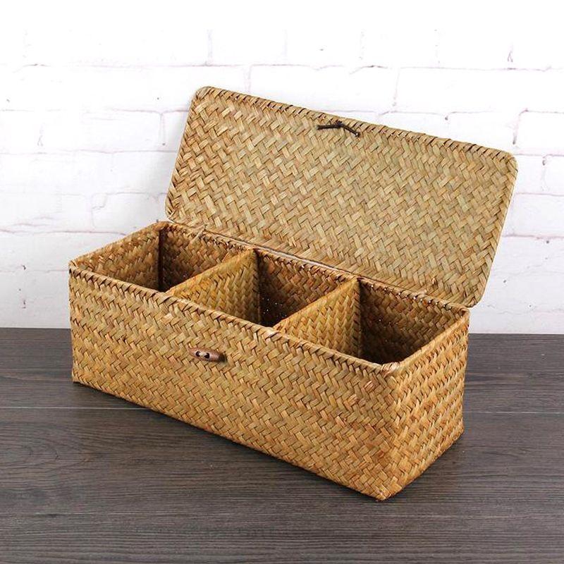 Wicker Storage Baskets Hand Woven Rectangle Tea Bags Storage Box Chest Wooden Organizer Compartmen Wicker Baskets Storage Storage Baskets Woven Baskets Storage