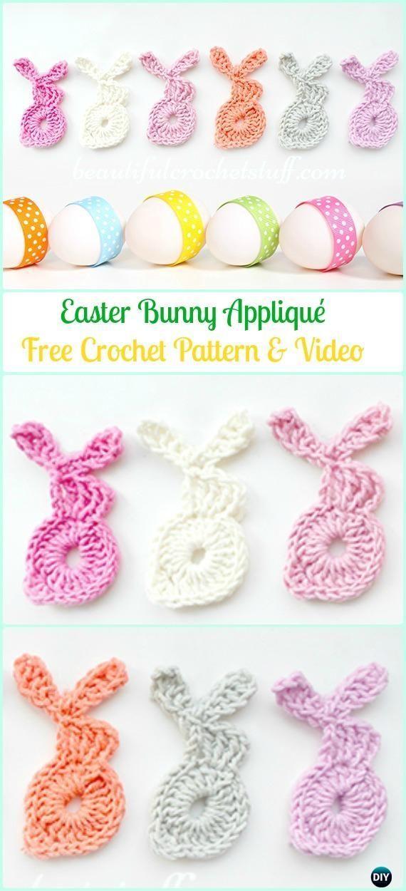 Crochet Easter Bunny Applique Free Pattern&Video -Crochet Bunny ...