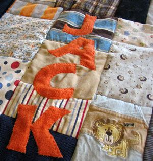 I was telling the ladies at my church group about this during our meeting this am. A quilt made out of your favorite clothes from when they were little. I LOVE this idea and it's why I have bins of baby clothes in my back room... someday I'll get to it :)