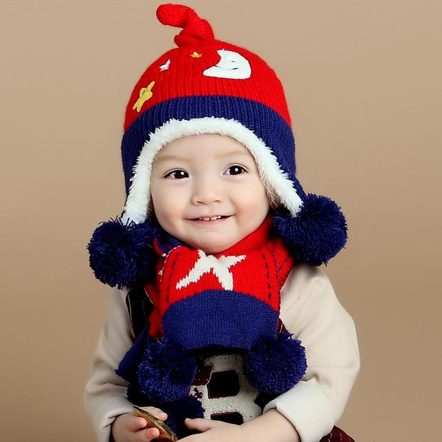 2pcs set New Child Winter Thicken Keep Warm Acrylic Hats   Scarf Baby  Cartoon Moon And Stars Knitted Cap for Boy Girl ca2fe6ad7999
