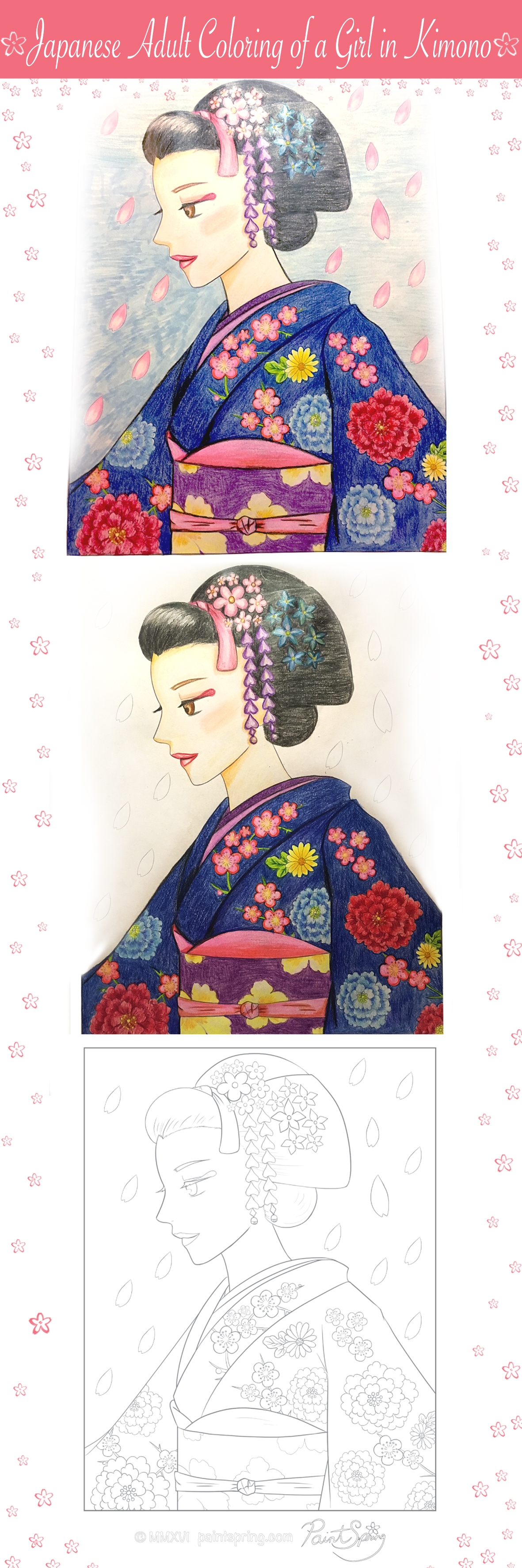 Japanese adult coloring of a girl in kimono i had so much fun