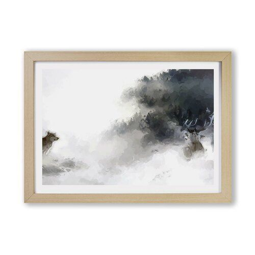 East Urban Home Wolf  Stag In A Winter Forest In Abstract  uk  Wolf  Stag In A Winter Forest In Abstract East Urban Home Size 45cm H x 63cm W Frame Option Oak