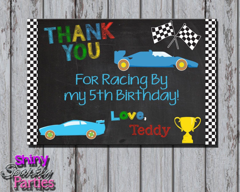 Race Car Birthday Thank You Card Birthday Thank You Cards Race Car Birthday Party Race Car Birthday