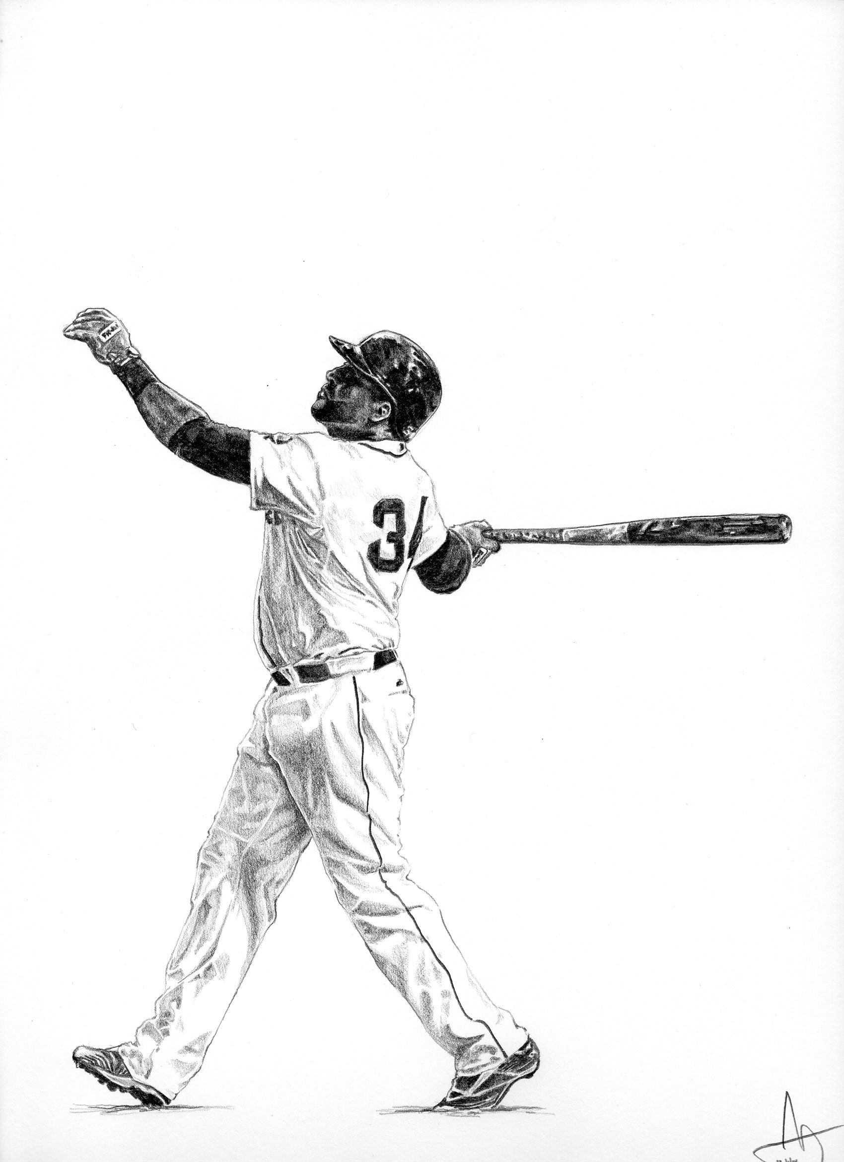 Boston Red Sox David Ortiz 12 X 9 Graphite On Tag Board Red Sox Baby Red Sox Red Sox Wallpaper [ 2340 x 1700 Pixel ]
