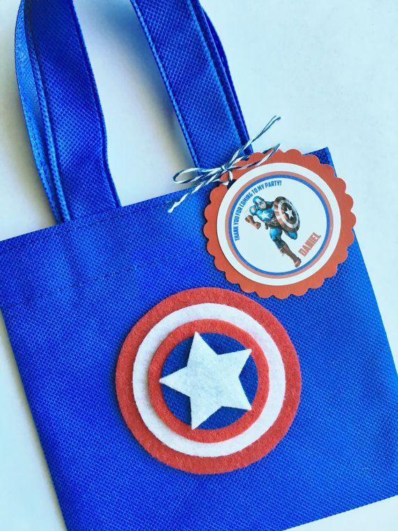 e1be8a683 Juego de 12 bolsas Favor de Capitán América con personalizada Dulceros  Capitan America, Capitan America