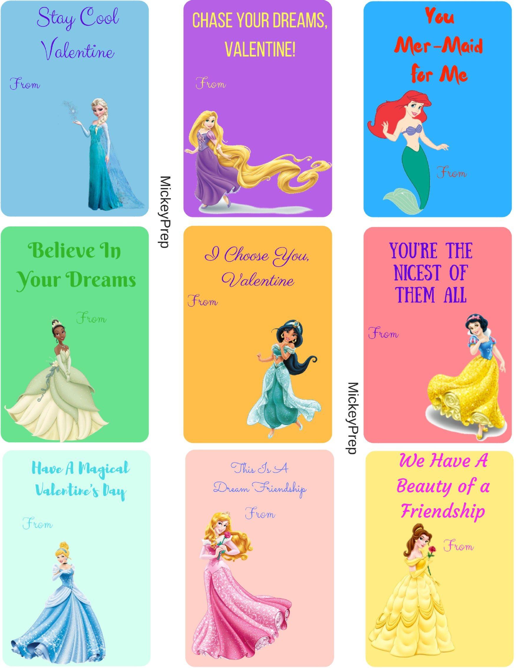 Free Printable Disney Princess Valentines