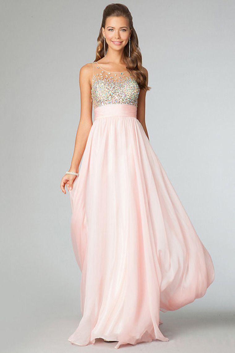 2014 Clearance Color Pink As Picture Floor Length See Through Prom ...