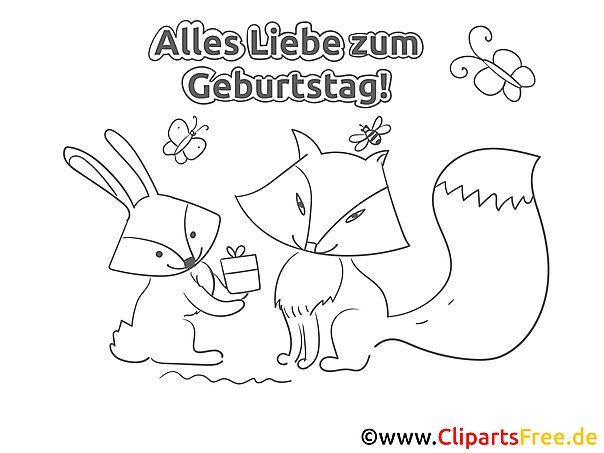 Fuchs Hase Geburtstag Ausmalbild Grusskarte Hase Geburtstag Geburtstag Geburtstag Malvorlagen