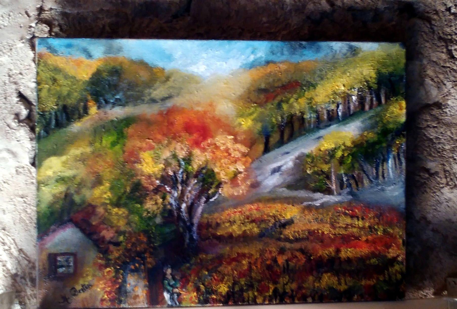 Vignes Du Sud Peinture Figurative Evocatrice De La Tradition