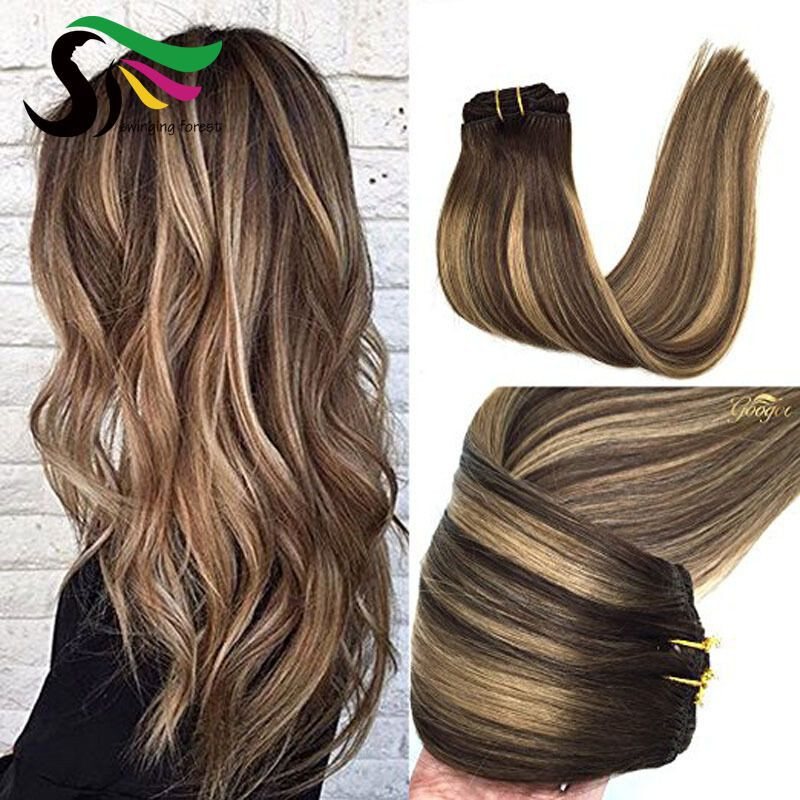 Highlights Brown Hair 100 Remy Human Hair Clip In Hair Extensions