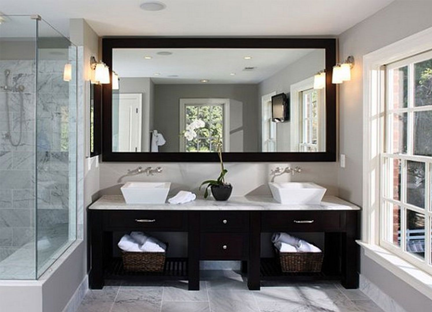 Colored Wall Bathroom Ideas Line Black Models Cabinet Bathroom Design Wide French Window Wide Square Mirror A Couple Of Orange Chandeliar Learning The
