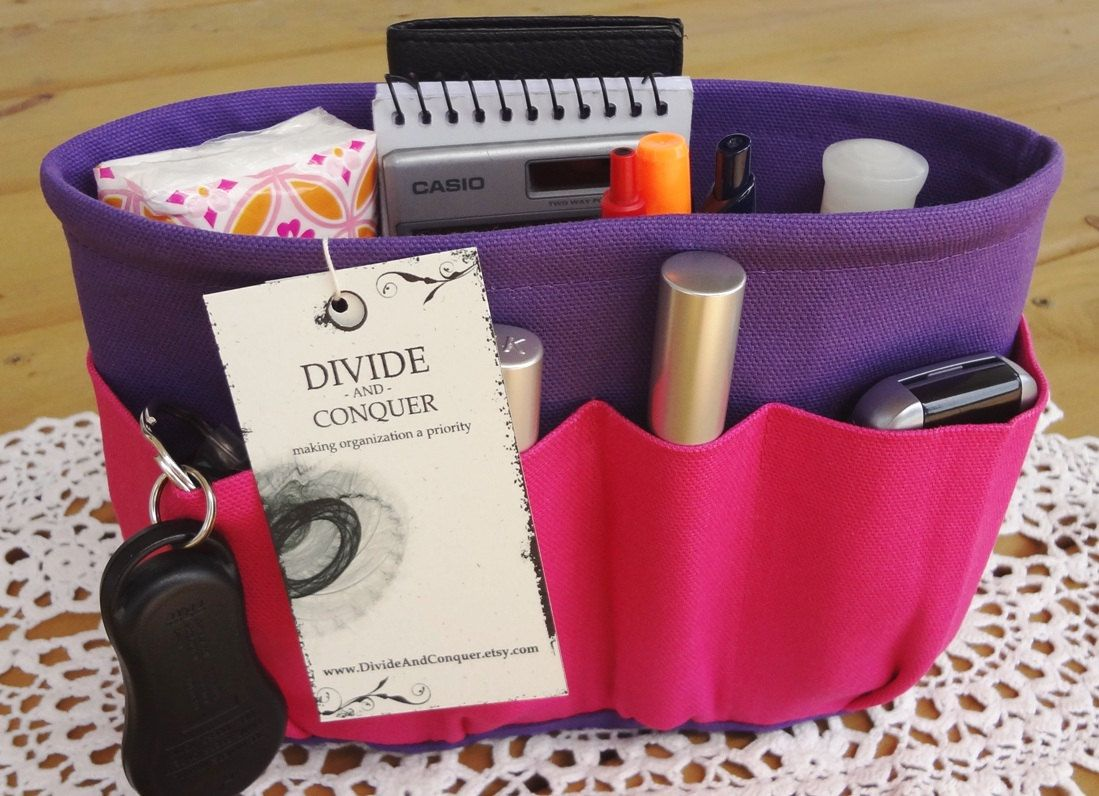 Purse ORGANIZER Insert SHAPER / Enclosed Bottom / Hot Pink On Purple / Extra STURDY / 5 Sizes Available / Check out my shop for more variety. $29.95, via Etsy.