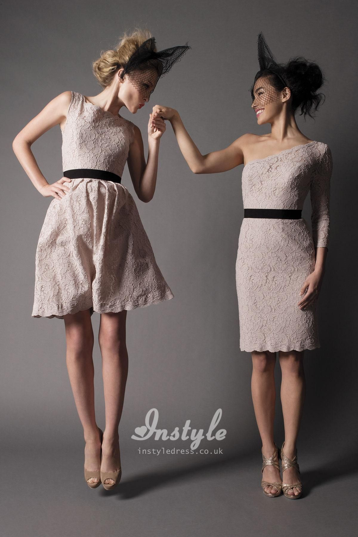 blush one shoulder 3/4 length sleeves lace dress uk | Young Modern ...