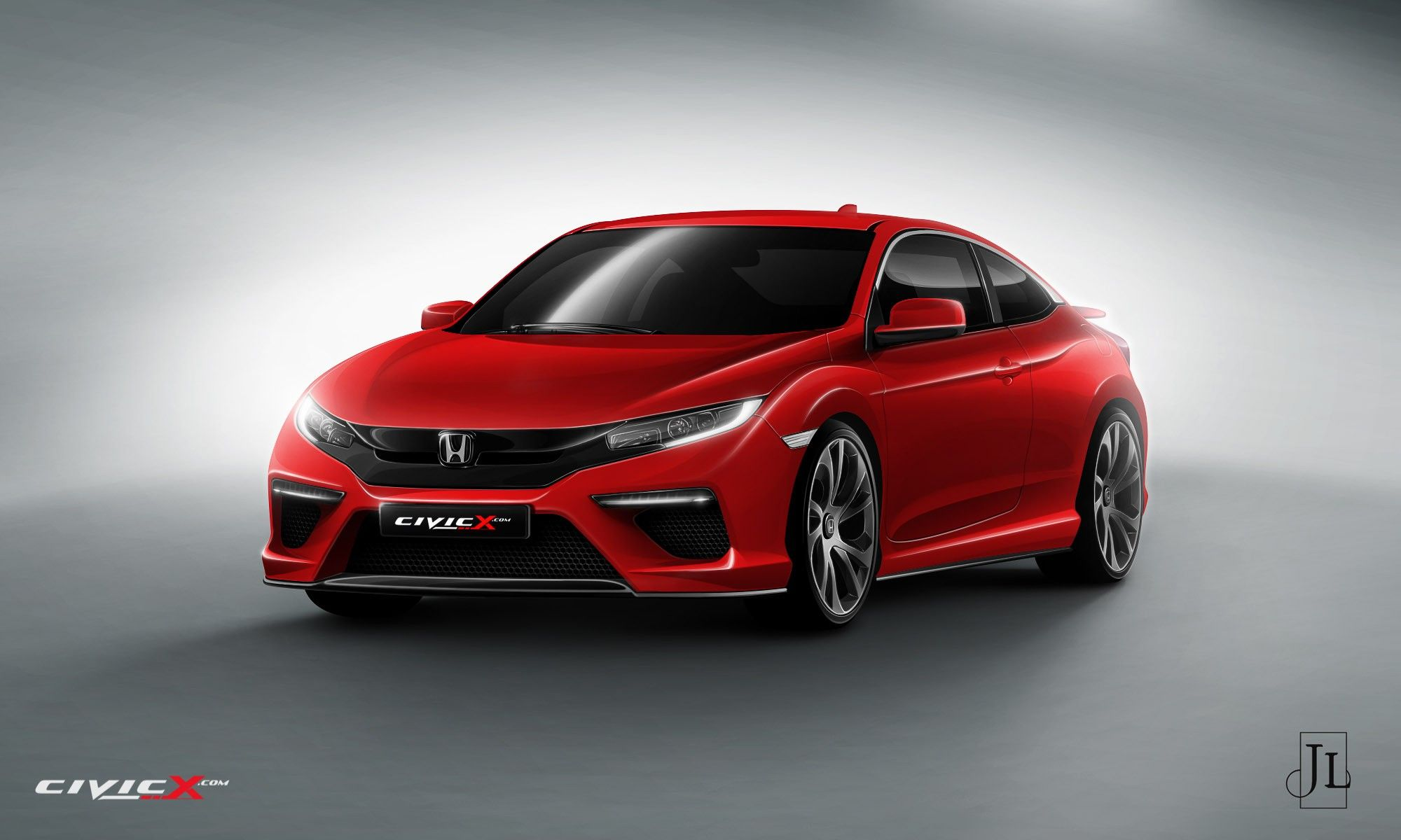 2017 Honda Civic Coupe Rendered In Vanilla And Super Hot Type R Flavors Photo Gallery 11 Jpg 2000 1200 Honda Civic Coupe Honda Civic New Honda Civic Sport