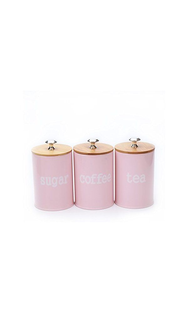 Hot X022s Set Of 3 Metal Food Storage Tin Canister Jar Container With