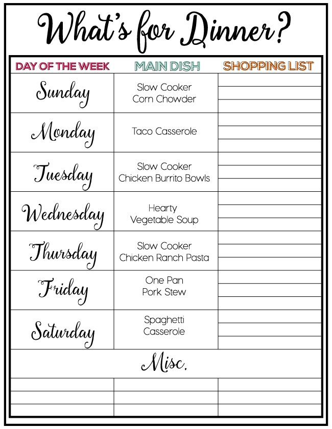 Menu Plan  Weekly Meal Plans Weekly Meals And Meals