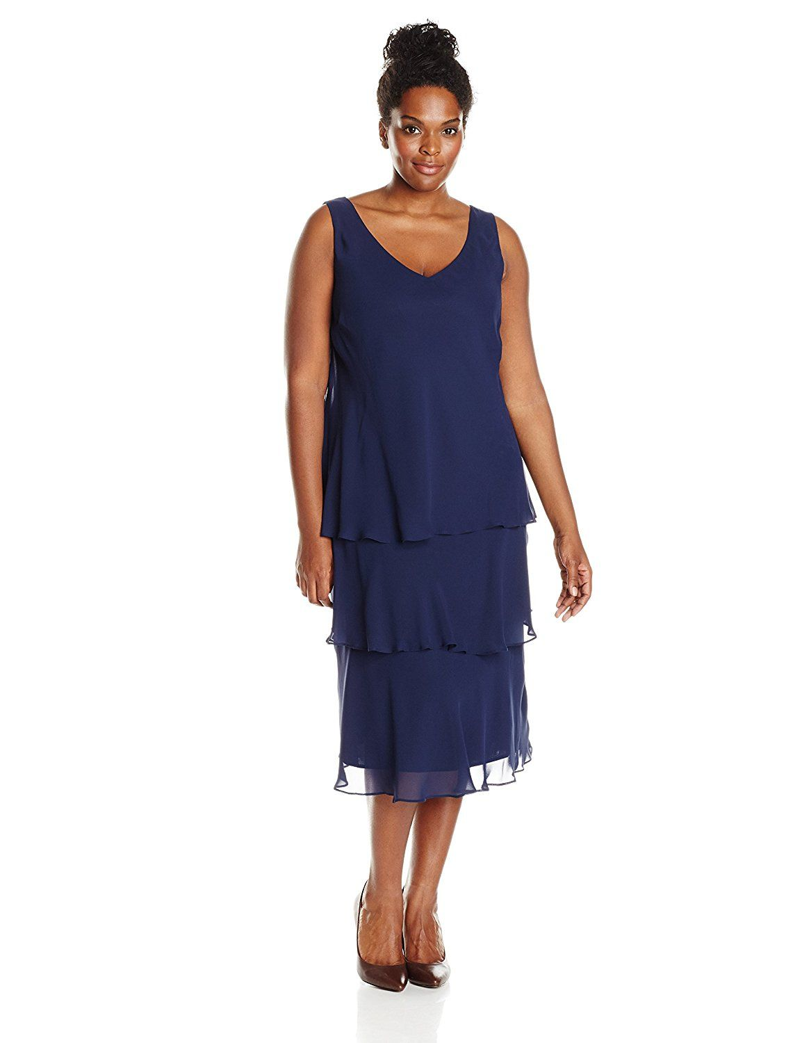 Plus Size Tiered Dress With Jacket