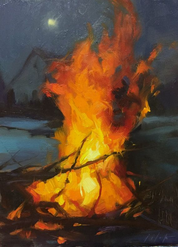 NEW Cooper Hill Campfire // Small Print on Fine Art by ... Campfire Painting