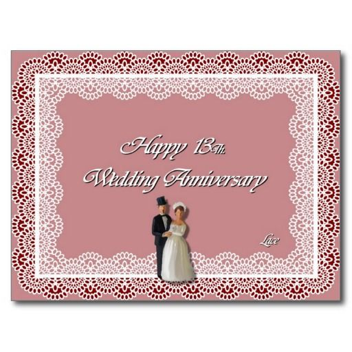 Happy 13th Wedding Anniversary Lace Postcard Zazzle Com In 2020 Wedding Anniversary 13th Wedding Anniversary Wedding