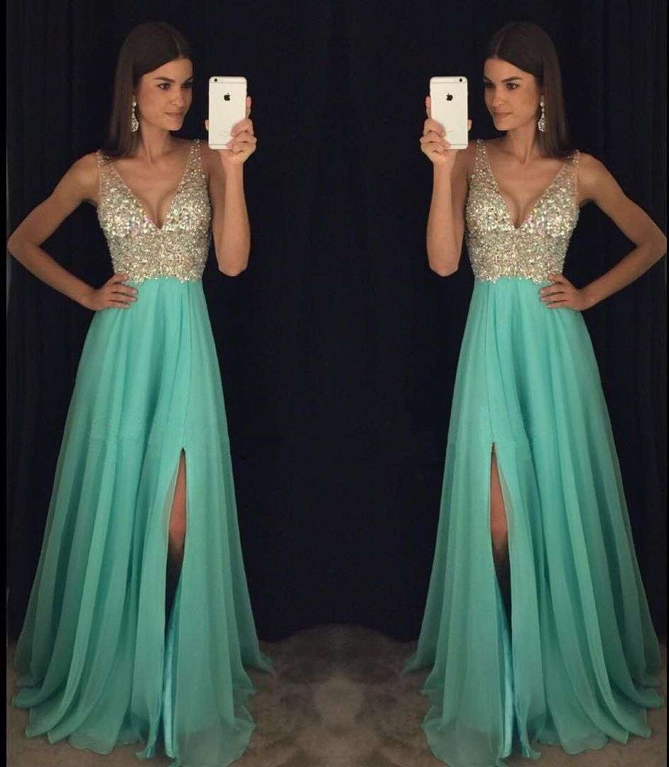 A line prom dresses beading prom dresses vneck prom gown sexy