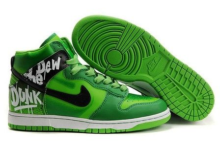 big sale a0972 e4df3 Nike Do The Dew Dunks Green High Shoes New For Boys