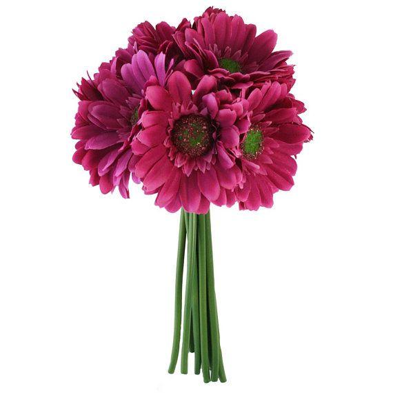 Hot Pink Daisy Bouquet Bridal Wedding Flowers 9 stems