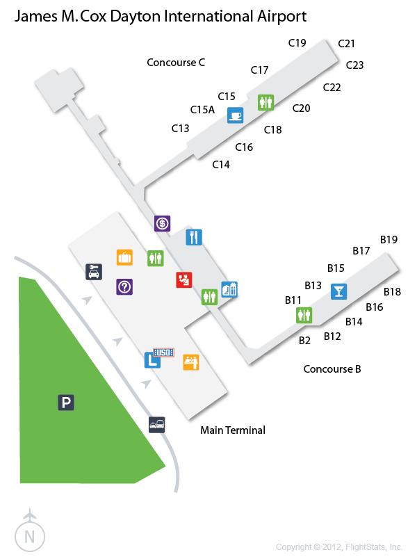 Dayton Ohio Airport Map DAY) James M. Cox Dayton International Airport Terminal Map