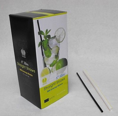 "500 piece 8"" BLACK SLIM DRINKING STRAWS iced tea sipping straw FREE SHIPPING"
